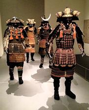 Standing Samurai Display Various Armor Types