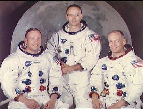 Aldring, Collins y Anstrong, los tres primeros astronautas que pisaron la luna