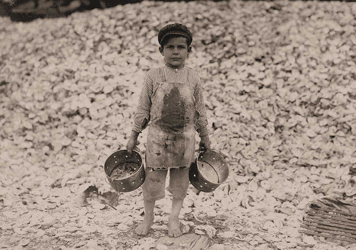Seafood Workers: Manuel the young shrimp picker, age 5, and a mountain ...