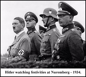 Hitler watching festivities at Nuremberg - 1934