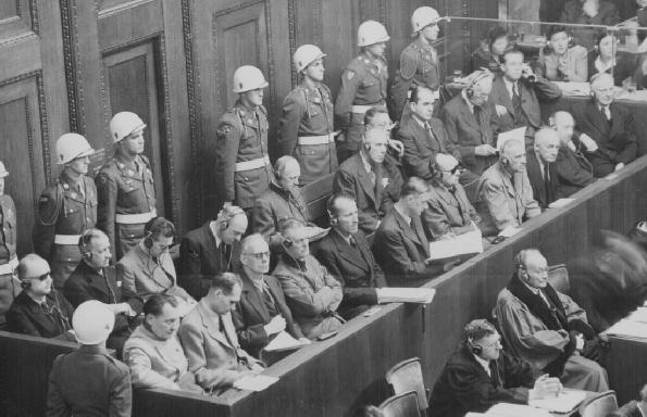 the history place holocaust timeline nuremberg war crime trials the former leaders of hitler s third reich on trial in nuremberg front row left to right hermann goring rudolf hess joachim von ribbentrop